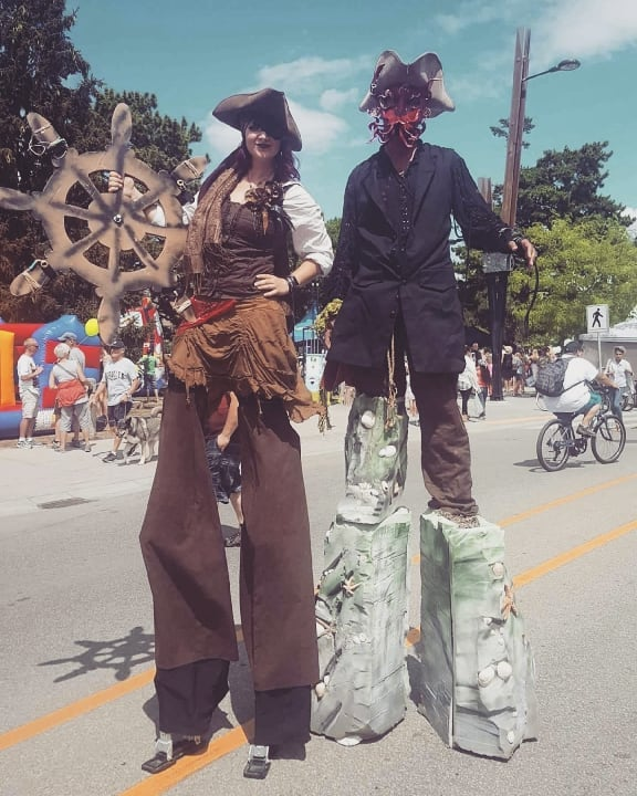 Pirate Theme Stilt Walkers